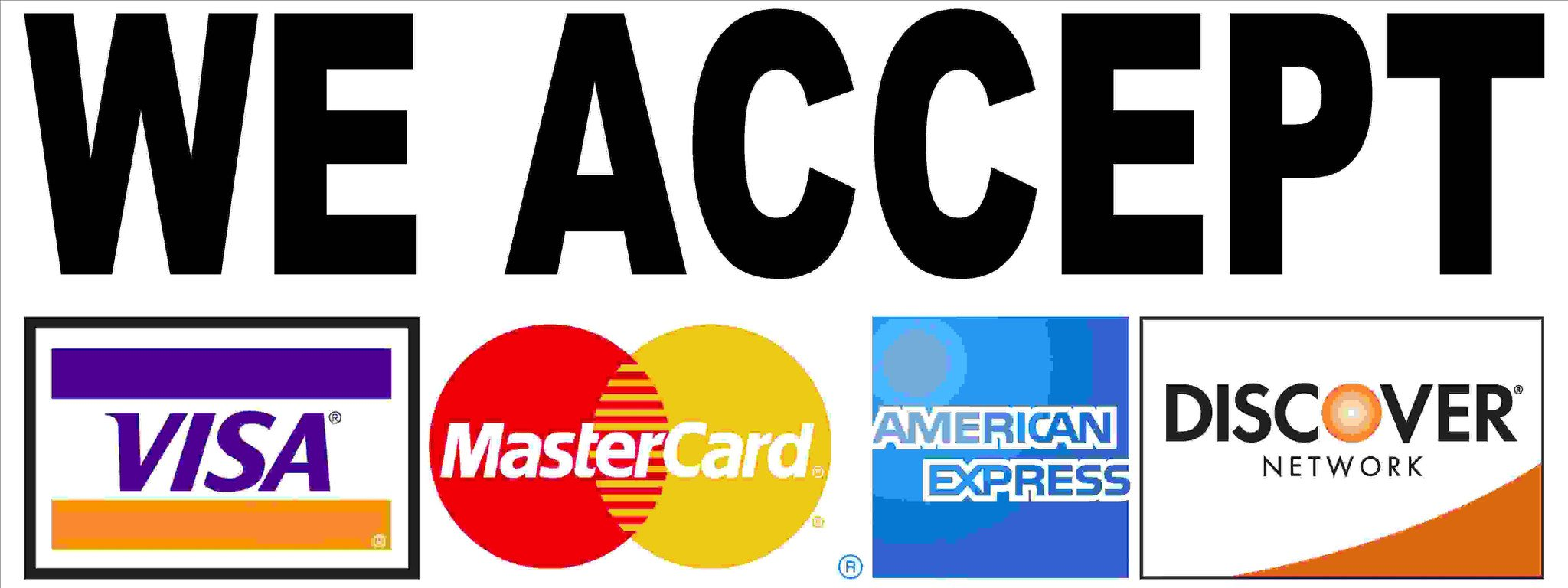 We accept all major credit cards (1)